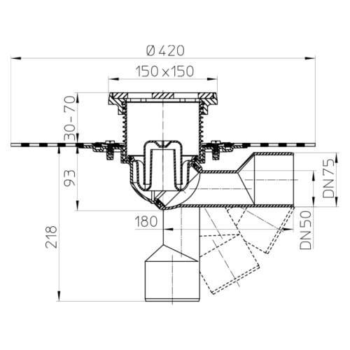 HL81.1GH Трап для внутрішніх приміщень DN50 / 75_схема