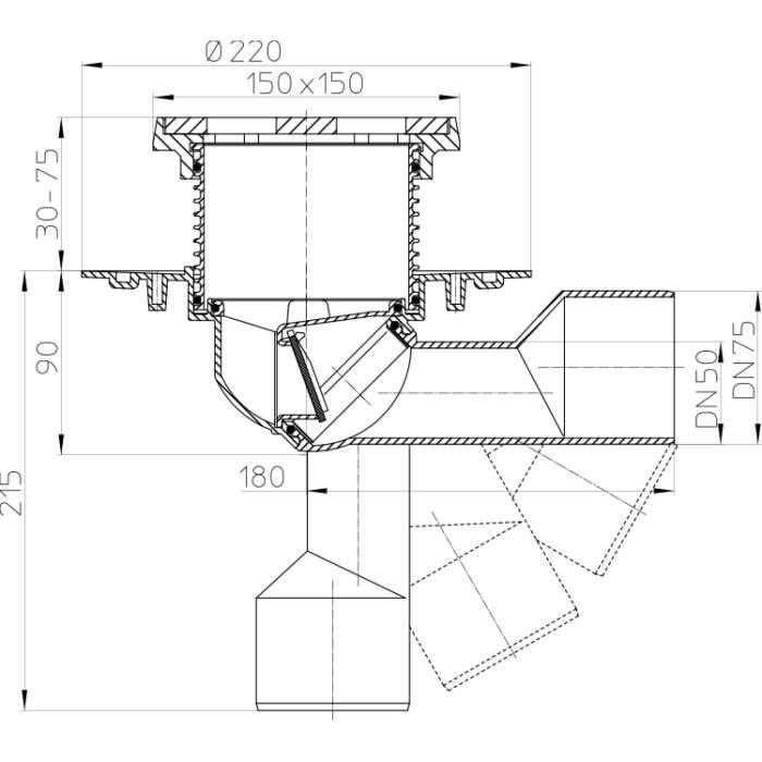 HL81G Трап для балконів і терас DN50 / 75_схема