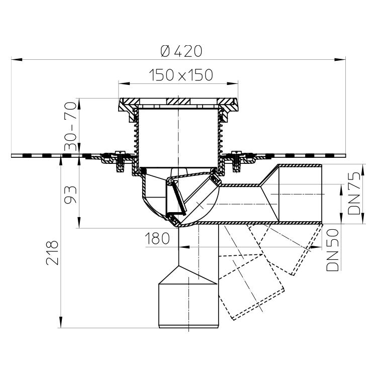 HL81GH Трап для балконів і терас DN50 / 75_cхема
