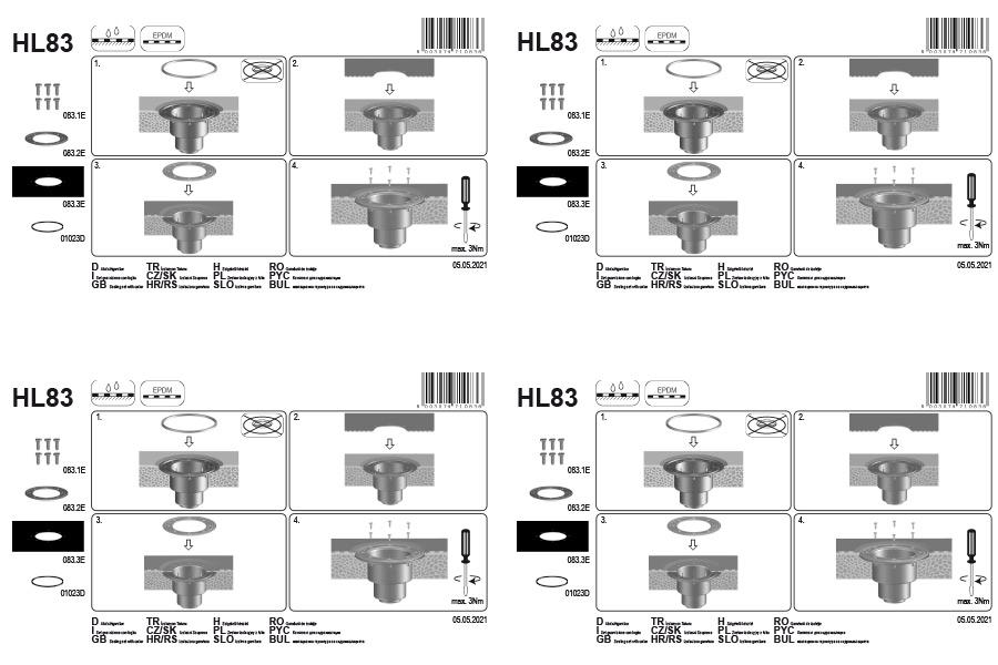 HL83 Ущільнювальний комплект з EPDM плівкою 400 x 400 мм_монтаж