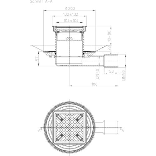HL90-3020 Трап DN40/50_схема