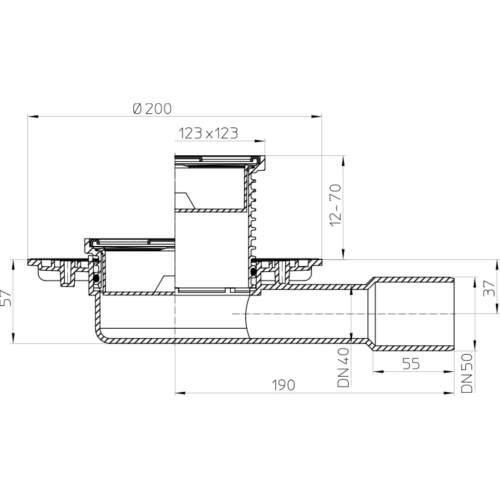 HL90 Трап DN40 / 50_схема