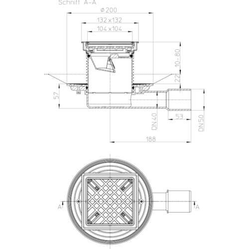 HL90.2-3020 Трап DN40 / 50_cхема