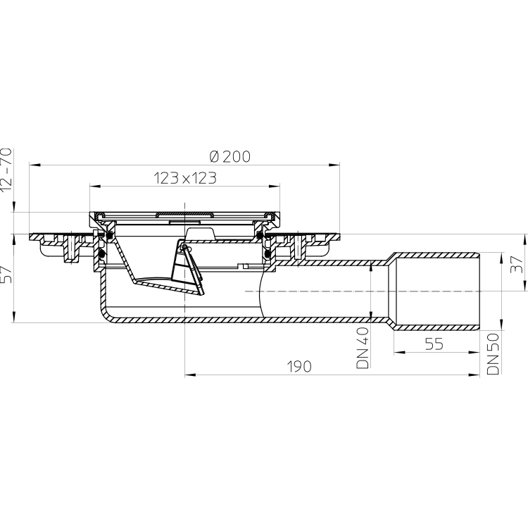 HL90.2 Трап DN40 / 50_схема