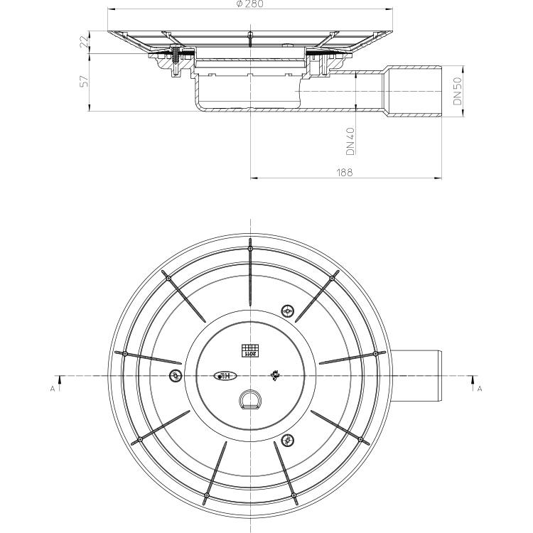 HL90K-3020 Корпус трапа DN40/50_cхема