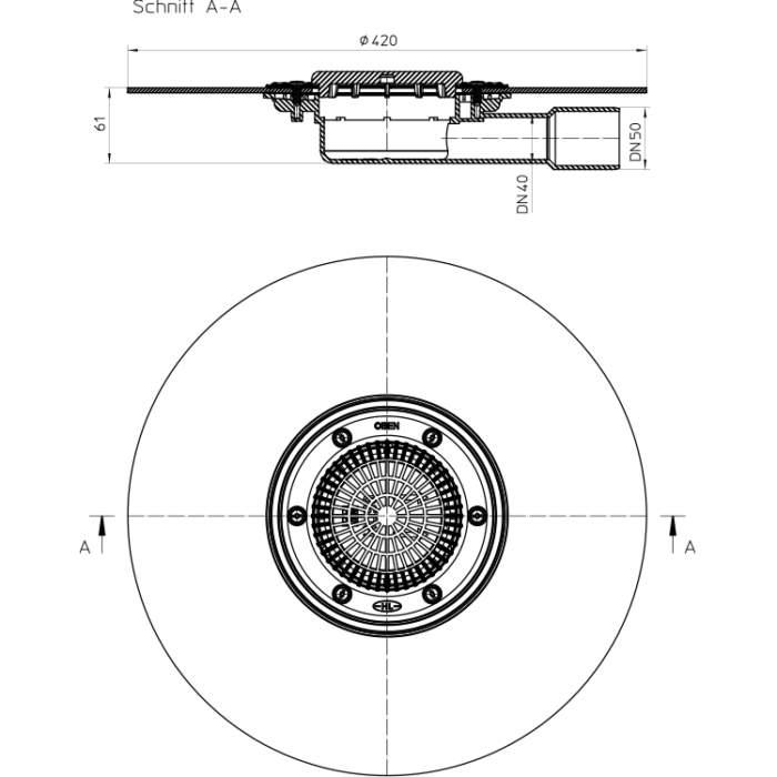HL90KH Корпус трапа DN40 / 50_схема