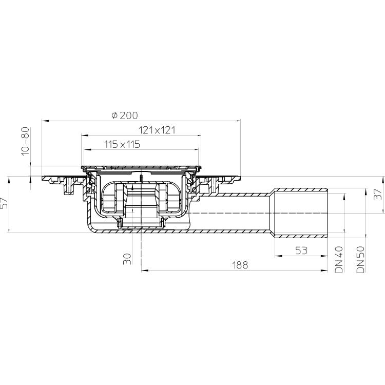 HL90Pr-3000 Трап DN40 / 50_схема