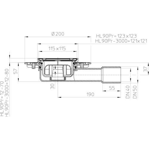 HL90Pr Трап DN40 / 50_схема