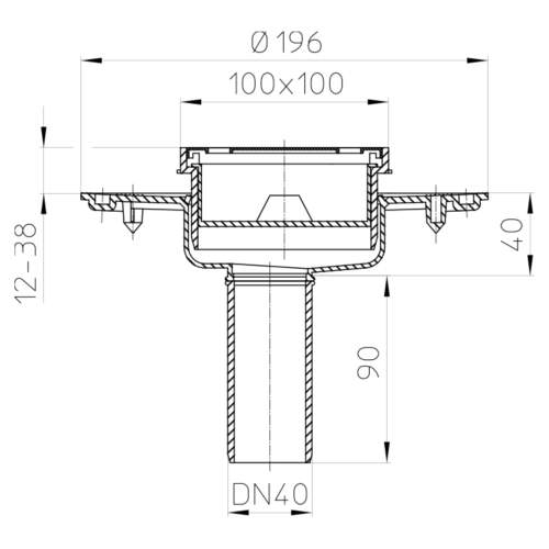 HL92 Трап DN40_схема