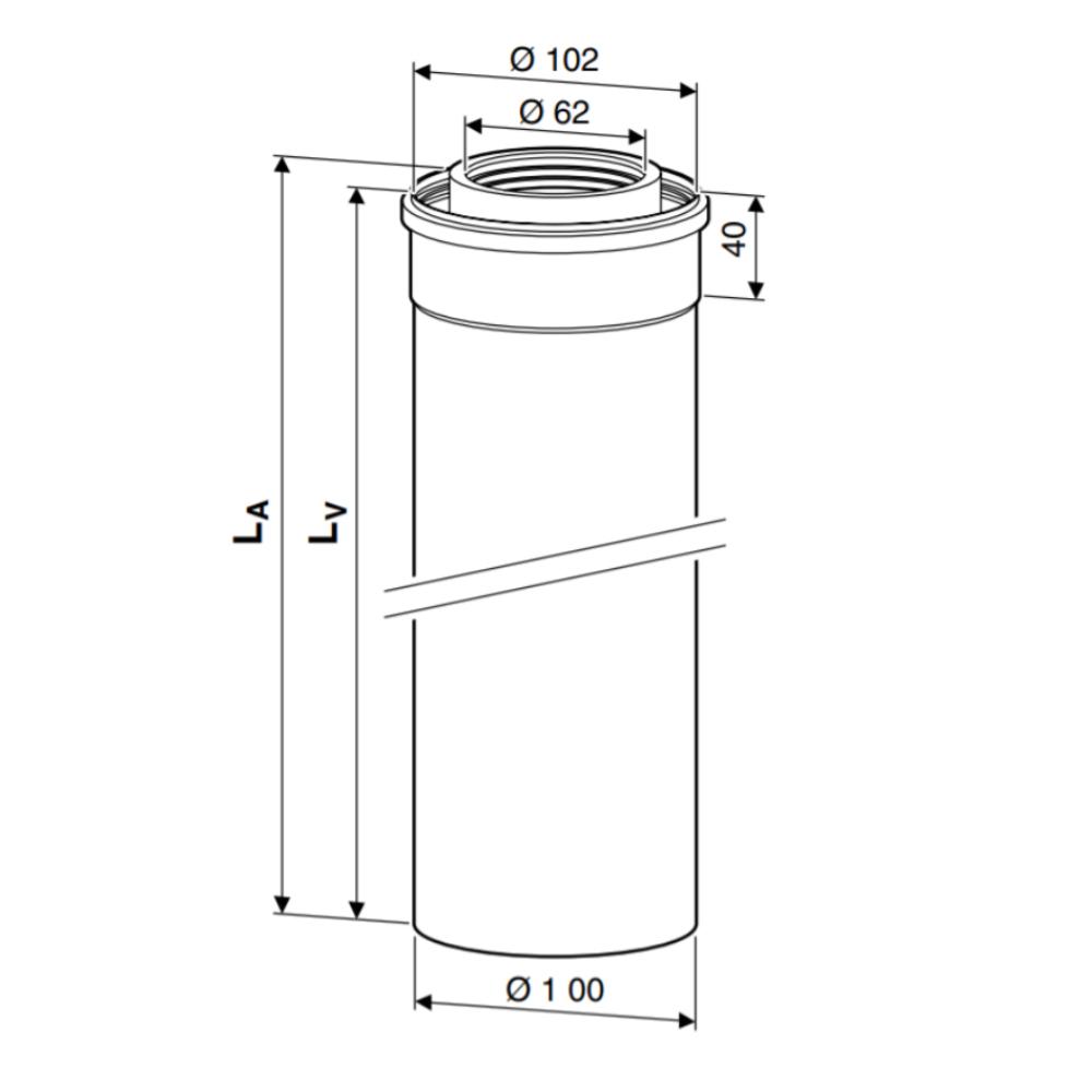 AZB 908-909 Коаксіальний подовжувач DN60/100 мм схема