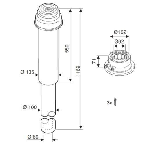 Bosch AZB 917 Коаксіальний вертикальний комплект Ø60/100 схема