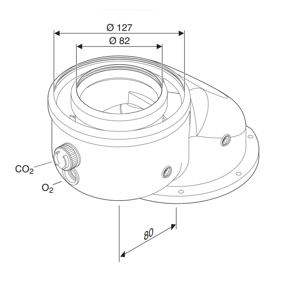 Адаптер Bosch AZB 922 для підключення роздільних димоходів Ø80-80 схема