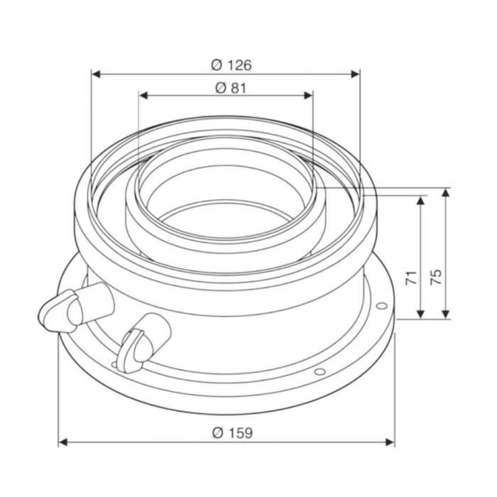 Адаптер Bosch AZB 931 для підключення коаксіальних димоходів Ø80/125 схема