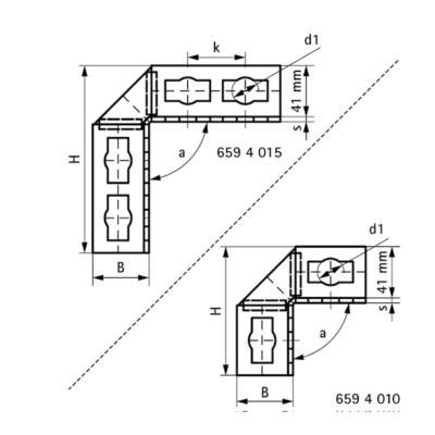 Кутовик 90° Walraven BIS PushStrut - розміри