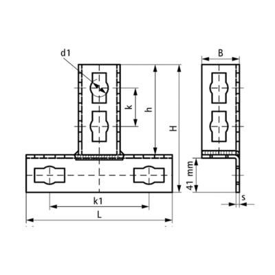 З'єднувач Т-подібний BIS PushStrut - розміри