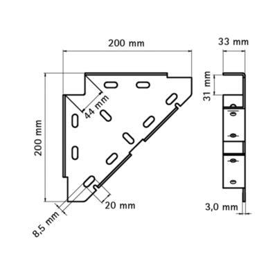 Тригранний діагональний з'єднувач Walraven BIS - розміри