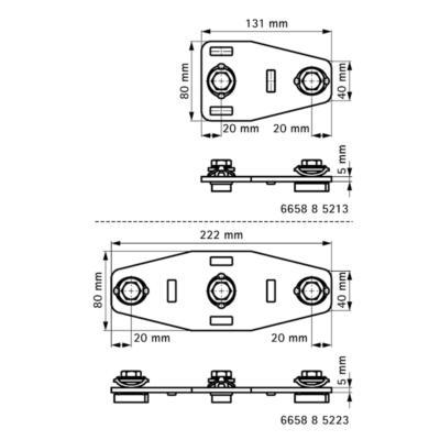Walraven BIS RapidStrut® T, X-подібний з'єднувач G2 (BUP1000) - розміри