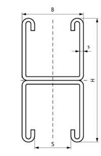 Монтажний профіль подвійний Walraven BIS RapidStrut - розміри