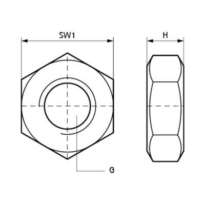 Гайка шестигранна Walraven BIS M10 із нерж. сталі - розміри