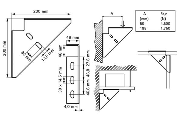 Тригранний з'єднувач BIS Strut (BUP1000) - розміри