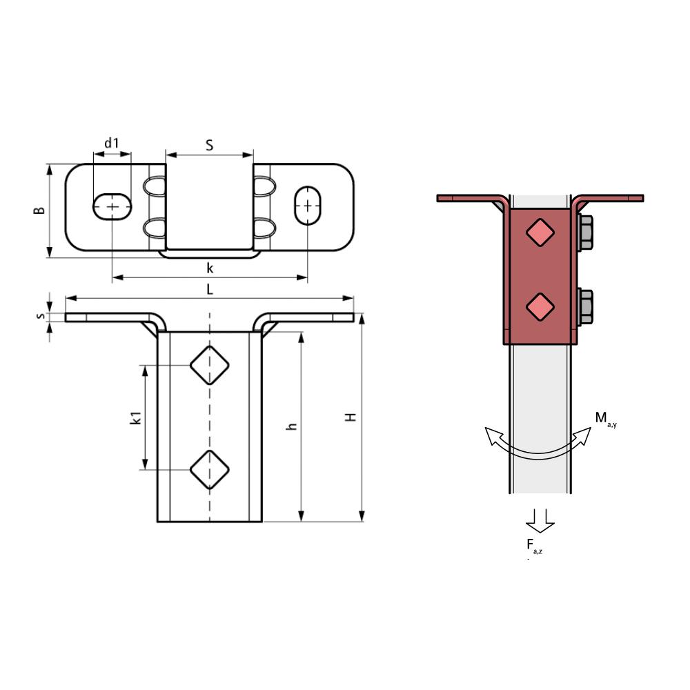 Схема BIS Strut T-подібний стіновий тримач (BUP1000)
