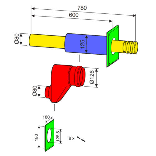 Горизонтальний двотрубний комплект Bosch