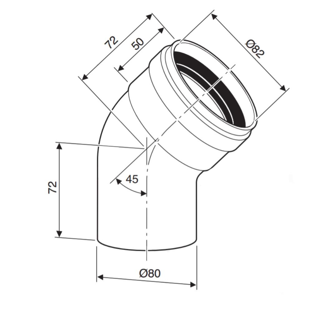 Відведення 45 градусів Bosch AZ 407 діаметром 80 мм схема
