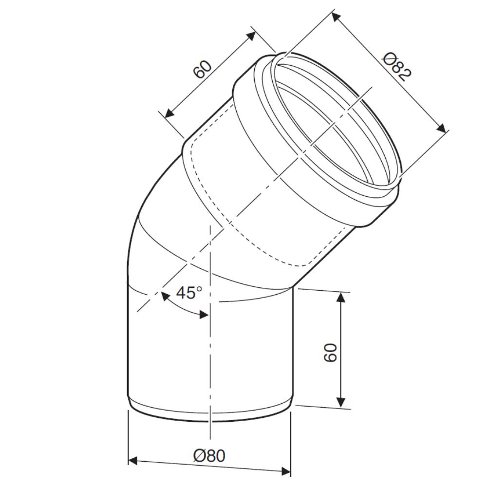 Відвід 45° для роздільних димоходів Bosch AZB 620 схема