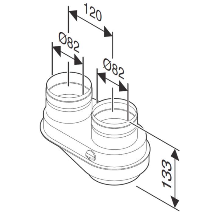 Адаптер для підключення роздільних димоходів Ø80-80 до котлів з виходом Ø60/100 схема