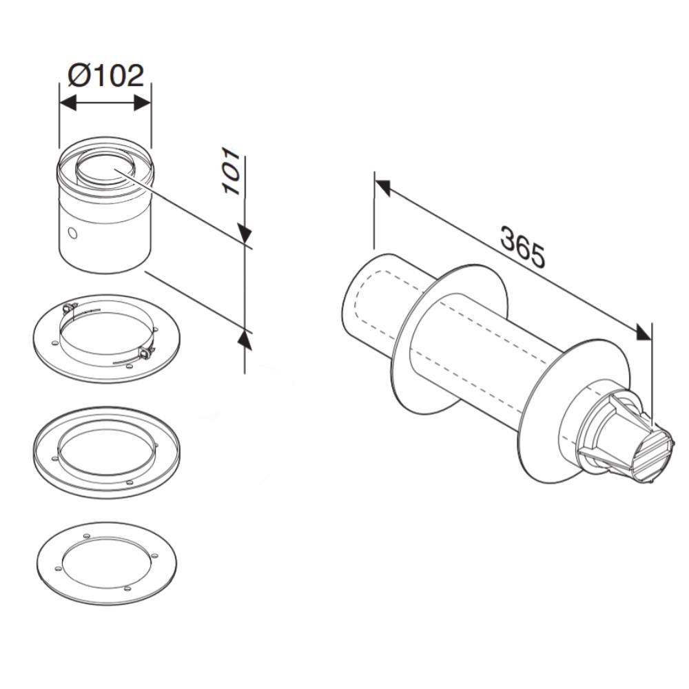 Коаксіальний горизонтальний димохід з адаптером до котла Ø60/100