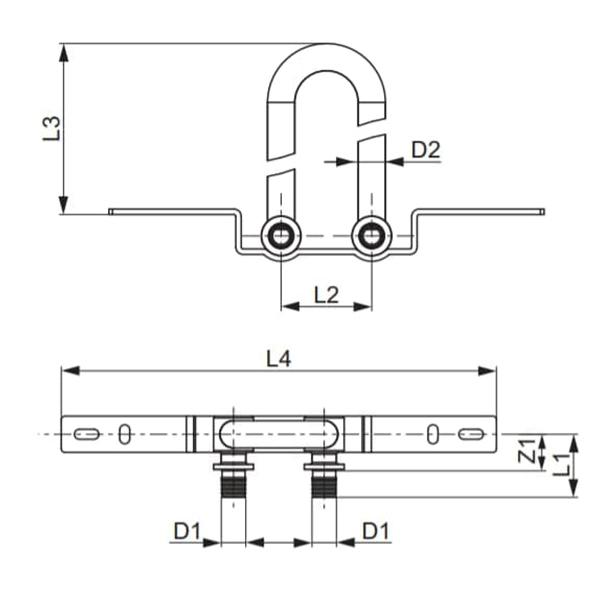 Монтажний комплект для підключення радіаторного блоку TECEflex