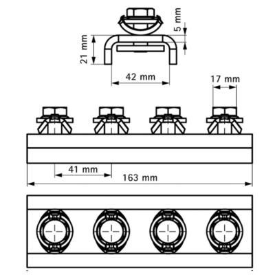 Walraven BIS RapidStrut® Поздовжній з'єднувач U-подібний G2 (BUP1000) - розміри