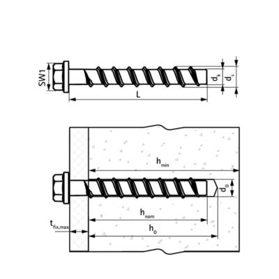 Walraven WCS1H Анкер-шуруп для бетону - розміри