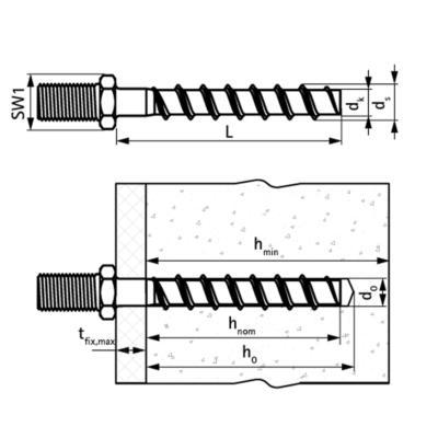 Walraven WCS1M Анкер-шуруп для бетону - розміри