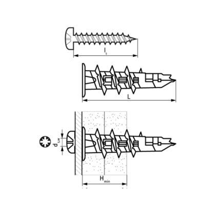 Walraven WRX Дюбель для гіпсокартону метал/пластик - розміри