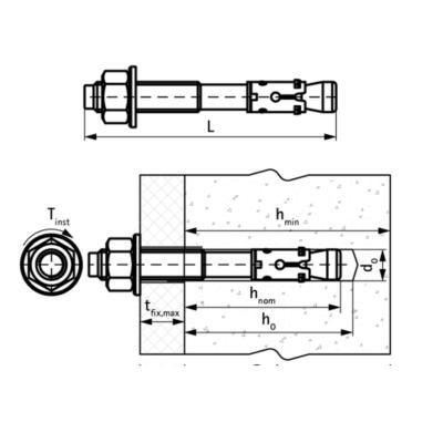 Walraven WTB1 Розпірний анкер з нерж. сталі - розміри